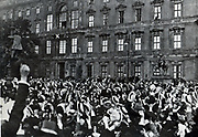 Emperor William speaking from the balcony of the palace in Berlin.
