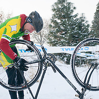 Even a tweaked wheel was difficult to manage in the frigid morning air.  ©Brian Nelson