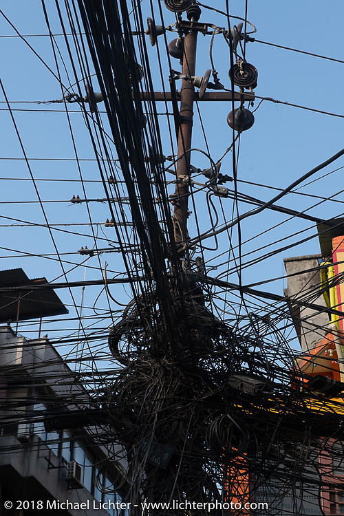 Typical overhead wiring in Kathmandu after our Himalayan Heroes motorcycling adventure, Nepal. Saturday, November 17, 2018. Photography ©2018 Michael Lichter.