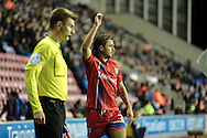 Bradley Dack (Gillingham) about to take a corner during the Sky Bet League 1 match between Wigan Athletic and Gillingham at the DW Stadium, Wigan, England on 7 January 2016. Photo by Mark P Doherty.