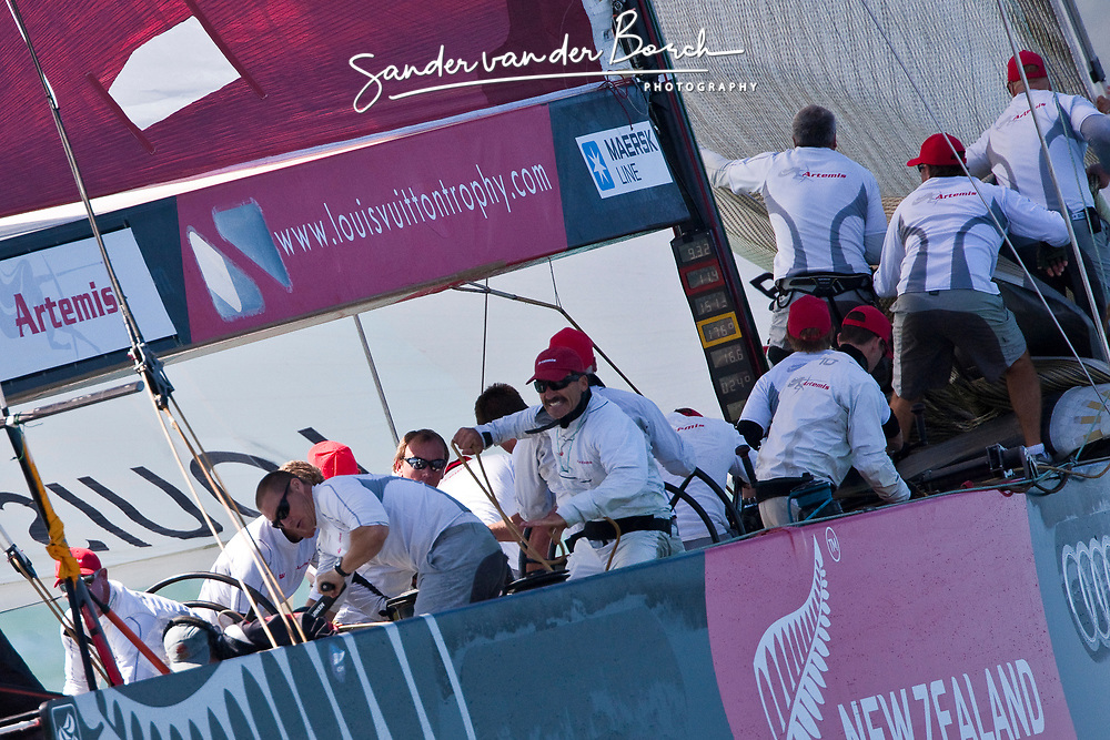 Paul Cayard gets the new runner after a quick gybe at the top mark while bow team is dropping the jib. Artemis (SWE) races Mascalzone Latino (ITA), race day 5, Round Robin 1. Auckland, New Zealand, March 14th 2010. Louis Vuitton Trophy  Auckland (8-21 March 2010) © Sander van der Borch / Artemis