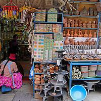 South America, Bolivia, La Paz. Scene from the Witch Doctor's Market of La Paz.