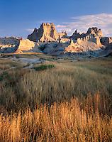 Badlands and prairie grasses, Badlands National Park South Dakota USA