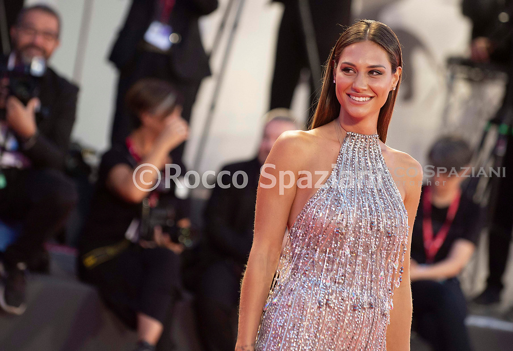 """VENICE, ITALY - SEPTEMBER 03: Beatrice Valli walks the red carpet ahead of the """"Om Det Oandliga"""" (About Endlessness) screening during the 76th Venice Film Festival at Sala Grande on September 03, 2019 in Venice, Italy."""