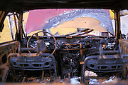Charred car interior