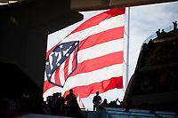 Atletico de Madrid's big flag fluttering in the wind during La Liga match between Atletico de Madrid and Malaga CF at Wanda Metropolitano in Madrid, Spain September 16, 2017. (ALTERPHOTOS/Borja B.Hojas)