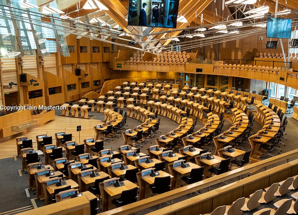 Interior view of debating chamber at Scottish Parliament Building in Holyrood, Edinburgh, Scotland, United Kingdom