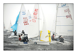 470 Class European Championships Largs - Day 1.Racing in grey and variable conditions on the Clyde..AUT437, David BARGEHR, Lukas M?HR, Yacht Club Bregenz