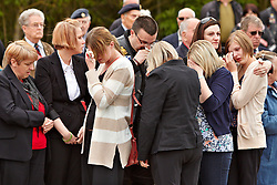 © Licensed to London News Pictures.  17/05/2012. CARTERTON, UK. Friends, family and colleagues of Corporal Brent McCarthy pay their respects during a double repatriation ceremony. Corporal Brent McCarthy, of the Royal Air Force Police, and Lance Corporal Lee Davies of 1st Battalion Welsh Guards were killed in Afghanistan May 12 by a man dressed in an Afghan Police uniform.  Photo credit :  Cliff Hide/LNP