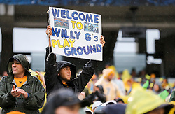Sep 8, 2018; Morgantown, WV, USA; A West Virginia Mountaineers fan holds up a sign during the second quarter against the Youngstown State Penguins at Mountaineer Field at Milan Puskar Stadium. Mandatory Credit: Ben Queen-USA TODAY Sports