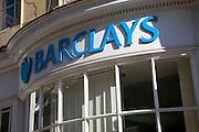 Old bow windowed Barclays bank frontage, Milsom Street, Bath, Somerset, England