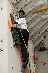 Medical students and volunteers students from the University of Edinburghendured a training session on a climbing wall ahead of their research trip to the Andes which will study the effects of altitude and low-oxygen environments on the human body.  Medical student Nandesh Patel (20) reached his target in the climbing tower. Centre for Sport and Excellence, University of Edinburgh24 April 2014 (c) GER HARLEY | StockPix.eu