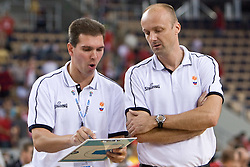 Assistant coach of Slovenia Tomo Mahoric and Head coach of Slovenia Jure Zdovc during the EuroBasket 2009 Group F match between Slovenia and Turkey, on September 16, 2009 in Arena Lodz, Hala Sportowa, Lodz, Poland.  (Photo by Vid Ponikvar / Sportida)
