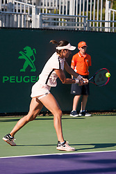 March 22, 2018 - Key Biscayne, FL, U.S. - KEY BISCAYNE, FL - MARCH 22: Caroline Garcia (FRA) in action on Day 4 of the Miami Open on March 22, 2018, at Crandon Park Tennis Center in Key Biscayne, FL. (Photo by Aaron Gilbert/Icon Sportswire) (Credit Image: © Aaron Gilbert/Icon SMI via ZUMA Press)