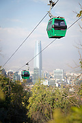 Cityscape with skyscrapers and cable cars from San Cristobal Hill, Santiago, Chile
