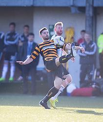 Alloa Athletic's Ben Gordon and Hearts scorer Adam Eckersley.<br /> Alloa Athletic 0 v 1 Hearts, Scottish Championship played at Recreation Park, Alloa.