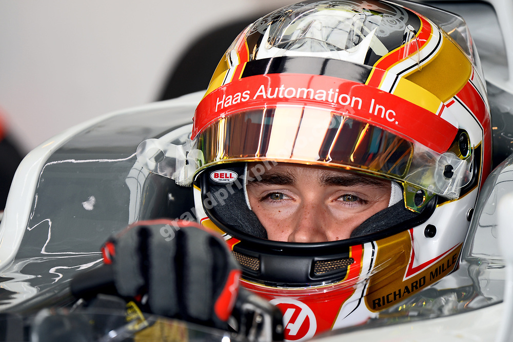 Charles Leclerc (Haas-Ferrari) in pit during practice before the 2016 Hungarian Grand Prix at the Hungaroring outside Budapest. Photo: Grand Prix Photo