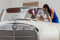 © Licensed to London News Pictures. 12/08/2016. London, UK. Detail of James Mason's Mercedes-Benz 300 SE Cabriolet, purchased from new by the great British actor (est. GBP 150,000 - 250,000), at the photocall for classic cars at Sotheby's, New Bond Street, ahead of their auction on 7 September in Battersea Park. Photo credit : Stephen Chung/LNP