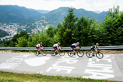 Diego Ulissi (ITA) of UAE Team Emirates, Tadej Pogacar (SLO) of UAE Team Emirates, Aleksandr Vlasov (RUS) of Gazprom - Rusvelo,  Jhoan Esteban Chaves Rubio (COL) of Mitchelton - Scott during 3rd Stage of 26th Tour of Slovenia 2019 cycling race between Zalec and Idrija (169,8 km), on June 21, 2019 in Slovenia. Photo by Vid Ponikvar / Sportida