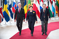 April 29, 2017 - Brussels, Bxl, Belgium - Polish Prime Minister Beata Szydlo (C),  Polish deputy Foreign Minister Konrad Szymanski (R) and Ambassador Jaroslaw Starzyk  arrive prior to the European Summit on Art. 50 , Brexit at European Council headquarters in Brussels, Belgium on 29.04.2017 by Wiktor Dabkowski (Credit Image: © Wiktor Dabkowski via ZUMA Wire)