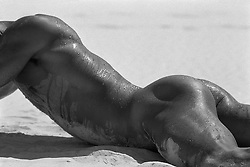 detail of sweaty male nude on the sand