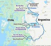 Argentina & Chile Patagonia trip map: three Dempseys travelled from 11 February - 05 March 2020: El Calafate, Los Glaciares National Park, El Chalten, Monte Fitz Roy, Lago del Desierto, & Torres del Paine NP.