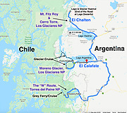 Argentina & Chile Patagonia trip map: three Dempseys travelled from 11 February - 05 March 2020: El Calafate, Los Glaciares National Park, El Chalten, Monte Fitz Roy, Lago del Desierto, & Torres del Paine NP.