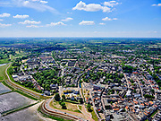 Nederland, Gelderland, Tiel, 27-05-2020; centrum van Tiel, gelegen aan rivier De Waal, met Sint-Maartenskerk<br /> City of Tiel, next to river Waal (branch of river Rhine).<br /> luchtfoto (toeslag op standard tarieven);<br /> aerial photo (additional fee required);<br /> copyright foto/photo Siebe Swart