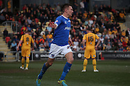 Jed Wallace of Portsmouth celebrates scoring his side's second goal. Skybet football league two match, Newport county v Portsmouth at Rodney Parade in Newport, South Wales on Saturday 29th March 2014.<br /> pic by Mark Hawkins, Andrew Orchard sports photography.