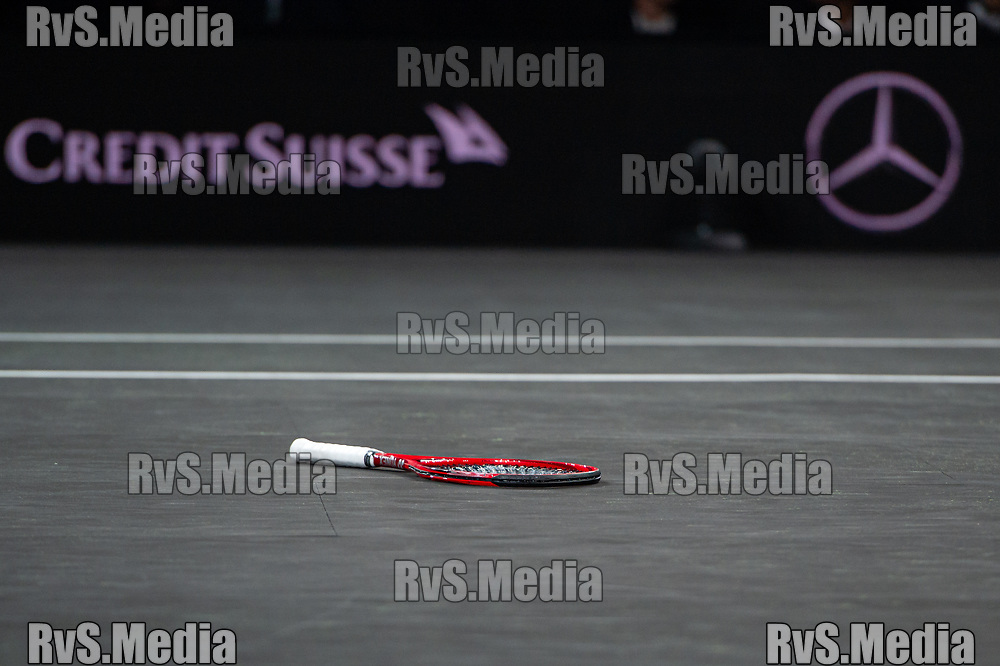 GENEVA, SWITZERLAND - SEPTEMBER 20: Tennis rocket of Denis Shapovalov of Team World during Day 1 of the Laver Cup 2019 at Palexpo on September 20, 2019 in Geneva, Switzerland. The Laver Cup will see six players from the rest of the World competing against their counterparts from Europe. Team World is captained by John McEnroe and Team Europe is captained by Bjorn Borg. The tournament runs from September 20-22. (Photo by Monika Majer/RvS.Media)