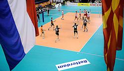 29-05-2010 VOLLEYBAL: EK KWALIFICATIE MACEDONIE - NEDERLAND: ROTTERDAM<br /> Nederland wint met 3-0 van Macedonie en plaatst zich voor de volgende ronde / Nederland juicht als ze op setpoint komen, vlaggen Nederland en Macedonie<br /> ©2010-WWW.FOTOHOOGENDOORN.NL