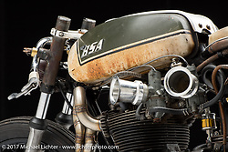 """""""The Manipulated"""", a custom BSA A65 cafe racer built by J Shia and Mike Ulman of Madhouse Motors in Boston, MA. Photographed by Michael Lichter in Sturgis, SD on August 2 2017. ©2017 Michael Lichter."""