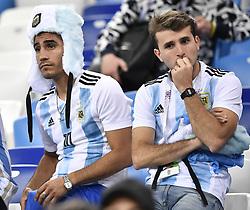 NIZHNY NOVGOROD, June 21, 2018  Fans of Argentina react after the 2018 FIFA World Cup Group D match between Argentina and Croatia in Nizhny Novgorod, Russia, June 21, 2018. Croatia won 3-0. (Credit Image: © Chen Yichen/Xinhua via ZUMA Wire)
