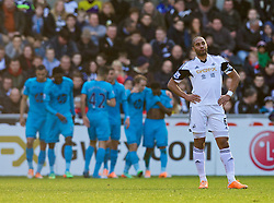 19.01.2014, Liberty Stadion, Swansea, ENG, Premier League, Swansea City vs Tottenham Hotspur, 22. Runde, im Bild Swansea City's captain Ashley Williams looks dejected as Tottenham Hotspur celebrates scoring the first goal // during the English Premier League 22th round match between Swansea City AFC and Tottenham Hotspur at the Liberty Stadion in Swansea, Great Britain on 2014/01/19. EXPA Pictures © 2014, PhotoCredit: EXPA/ Propagandaphoto/ David Rawcliffe<br /> <br /> *****ATTENTION - OUT of ENG, GBR*****