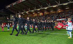 Members of Royal Tank Regiment and Bristol University Officer Training Corps parade on the pitch at Ashton Gate - Mandatory by-line: Paul Knight/JMP - 05/11/2016 - FOOTBALL - Ashton Gate - Bristol, England - Bristol City v Brighton and Hove Albion - Sky Bet Championship
