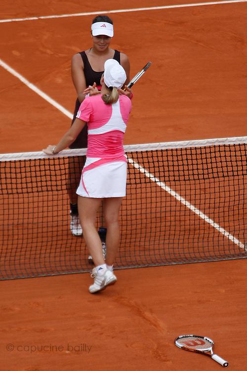 Roland Garros. Paris, France. June 9th 2007..Women's Final..Justine HENIN (front) won against Ana IVANOVIC (back).