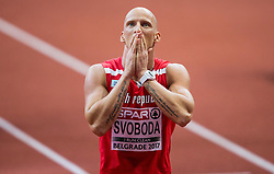 Third placed Petr Svoboda of Czech Republic reacts after the 60m Hurdles Men Final on day one of the 2017 European Athletics Indoor Championships at the Kombank Arena on March 3, 2017 in Belgrade, Serbia. Photo by Vid Ponikvar / Sportida