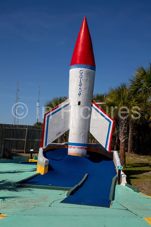 Goofy Golf, a vintage tourist mini golf course full of obstacles including dinosaurs, aliens and a Sphinx on 6th March 2020 in Panama City, Florida, United States. With an average of 320 days of Florida sunshine each year – and 27 miles of sugar-white sands bordering the clear, emerald green waters where the Gulf of Mexico and St. Andrew Bay converge – Panama City Beach is a favourite of travellers seeking an affordable beach vacation with year round offerings.