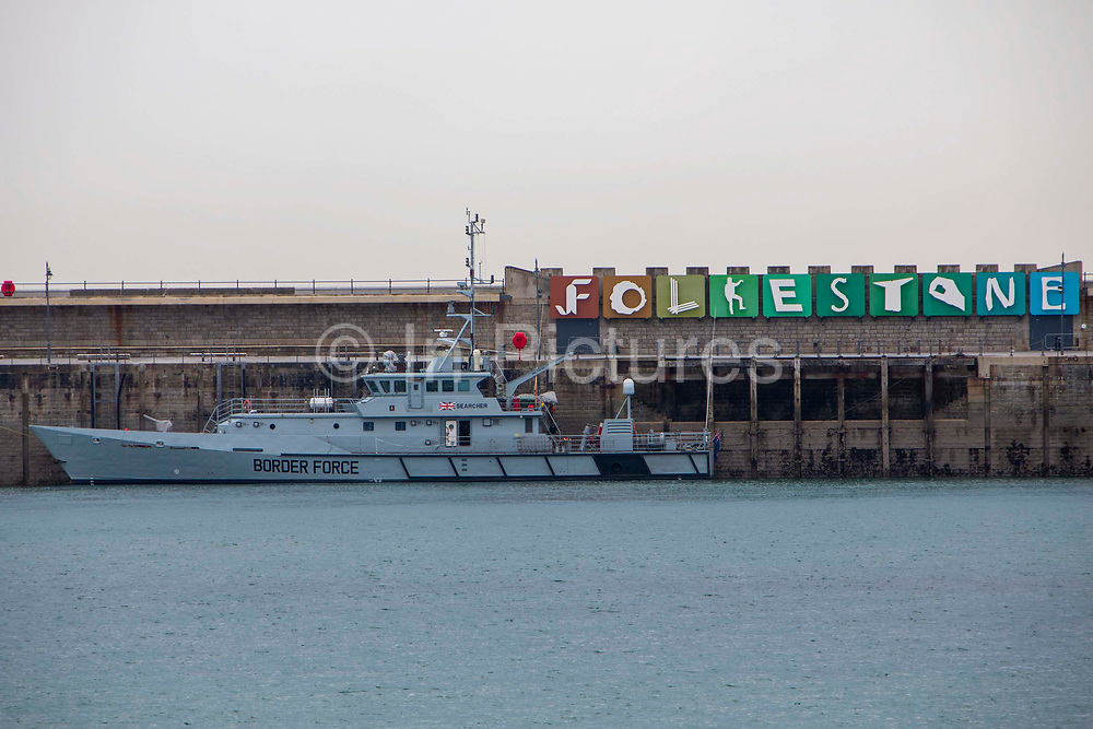 Boarder Force's HMC Searcher moored up on Folkestone Harbour Arm on the 16th of May 2020, Folkestone, United Kingdom.  HMC Searcher is one of five cutter ships that are operated by UK Boarder Force patrolling the waters and coastline of the United Kingdom.