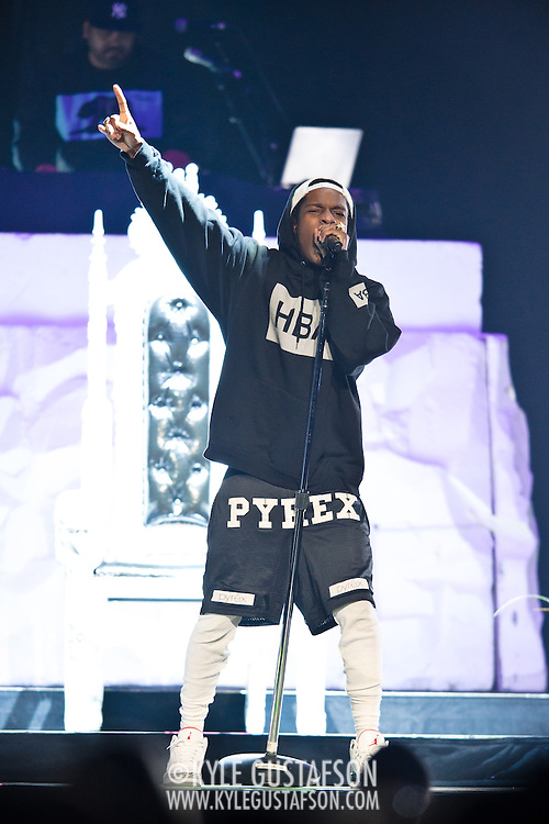 WASHINGTON, DC - APRIL 29TH, 2013 - Rapper A$Ap Rocky performs at the Verizon Center in Washington, D.C. opening for Rihanna on her Diamonds World Tour.