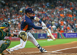 April 29, 2018 - Houston, TX, U.S. - HOUSTON, TX - APRIL 29:  Houston Astros third baseman Alex Bregman (2) hits a foul ball in the bottom of the second inning during the baseball game between the Oakland Athletics and Houston Astros on April 29, 2018 at Minute Maid Park in Houston, Texas.  (Photo by Leslie Plaza Johnson/Icon Sportswire) (Credit Image: © Leslie Plaza Johnson/Icon SMI via ZUMA Press)