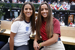 © Licensed to London News Pictures. 07/07/2021. London, UK. England supporters gather at Boxpark in Croydon, south London ahead of the EURO 2020 semi-final between England and Denmark. Photo credit: Peter Macdiarmid/LNP