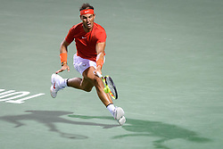 August 10, 2018 - Toronto, ON, U.S. - TORONTO, ON - AUGUST 10: Rafael Nadal (ESP) returns the ball during his Quarter-Finals match of the Rogers Cup tennis tournament on August 10, 2018, at Aviva Centre in Toronto, ON, Canada. (Photograph by Julian Avram/Icon Sportswire) (Credit Image: © Julian Avram/Icon SMI via ZUMA Press)