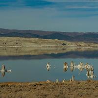 Tufa towers seem to float in the alkaline waters of Mono Lake in the eastern Sierra Nevada of California.