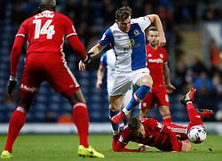 Blackburn Rovers' Sam Gallagher battles for the ball with Cardiff City's Joe Bennett