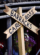 Sign at Carcross Barracks, historic Northwest Mounted Police barracks built in 1920 and now filled with crafts created by Yukon artisans, Carcross, Yukon Territory, Canada.