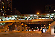 An Elevated Train station over Chicago's Roosevelt Road after dark