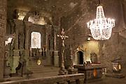 An interior of St. Kinga's Chapel, a subterranean church 1km beneath ground in Wieliczka Salt Mine, on 24th September 2019, in Wieliczka, Krakow, Malopolska, Poland.