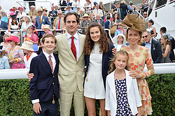 BEN & LADY LOUISA COLLINGS with their children GEORGE, FELICITY and CATHERINE at day 3 of the Qatar Glorious Goodwood Festival at Goodwood Racecourse, Chechester, West Sussex on 28th July 2016.