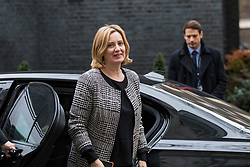 © Licensed to London News Pictures. 08/01/2018. London, UK. Home Secretary Amber Rudd arrives on Downing Street as Prime Minister Theresa May reshuffles the Cabinet. Photo credit: Rob Pinney/LNP